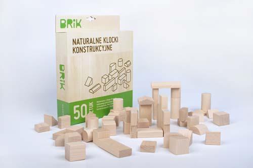 Klocki drewniane 50 sztuk naturalne