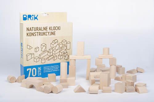 Klocki drewniane 70 sztuk naturalne